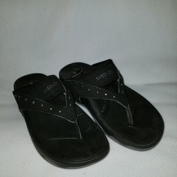 Skechers Black Comfortable Tone Ups Sandals